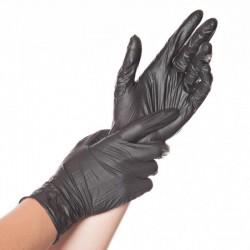 Rękawice nitrylowe 5 mil czarne a 100 sztuk  Hygotex teksturowane 1,5 AQL