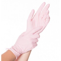 Rękawice nitrylowe 2,5 mil różowe a100 sztuk  Hygotex teksturowane 1,5 AQL