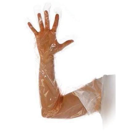 Rękawiczki  foliowe PE  L 90cm a 100 sztuk gr. 0.035mm