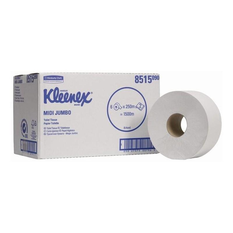 Kleenex papier toaletowy Jumbo 2 warstwowy biały 250 m karton 6 rolek