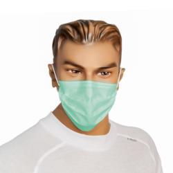 Maska z włókniny  PP 2-war. zielona z gumką a50 sztuk